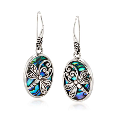Abalone Shell and Sterling Silver Dragonfly Oval Drop Earrings
