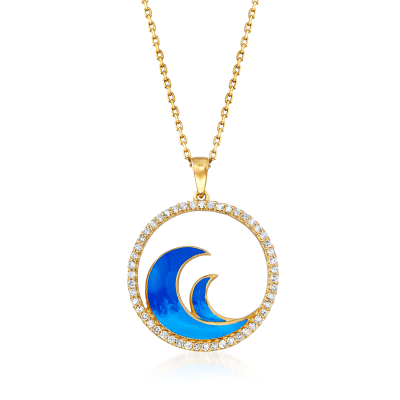 .25 ct. t.w. Diamond and Blue Enamel Wave Pendant Necklace in 18kt Gold Over Sterling
