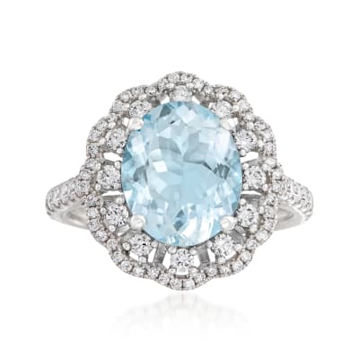 2.70 Carat Aquamarine and .74 ct. t.w. Diamond Ring in 14kt White Gold