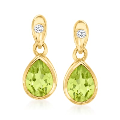 1.40 ct. t.w. Peridot Drop Earrings in 14kt Yellow Gold