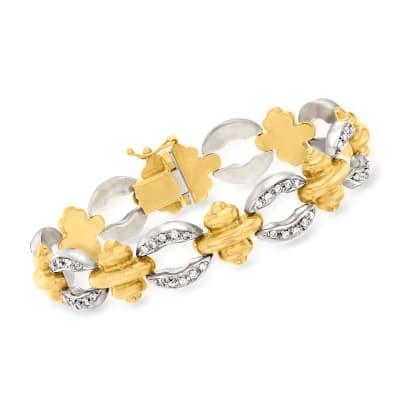 C. 1980 Vintage 1.75 ct. t.w. Diamond Link Bracelet in 14kt Two-Tone Gold