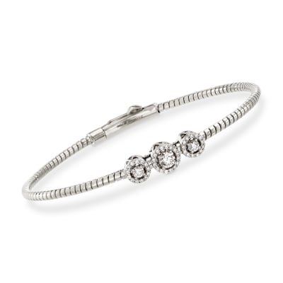Simon G. .22 ct. t.w. Diamond Three-Station Bangle Bracelet in 18kt White Gold