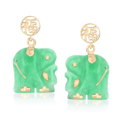 "Jade ""Lucky Fortune"" Chinese Symbol and Elephant Drop Earrings in 14kt Yellow Gold"