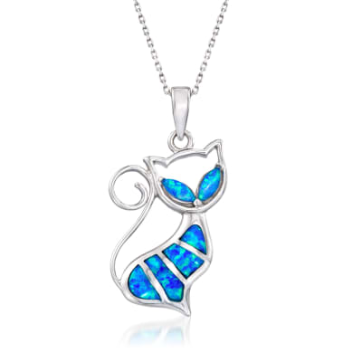 Blue Synthetic Opal Cat Pendant Necklace in Sterling Silver
