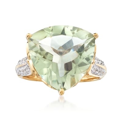 7.50 Carat Prasiolite and .20 ct. t.w. White Topaz Ring in 18kt Gold Over Sterling