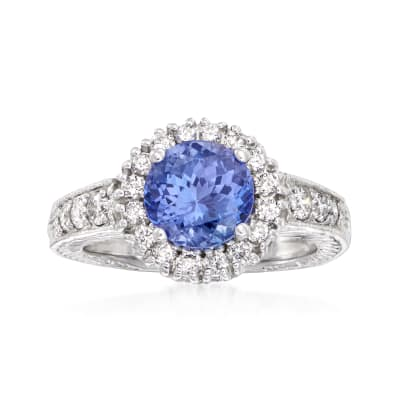 2.50 Carat Tanzanite and .56 ct. t.w. Diamond Ring in 14kt White Gold