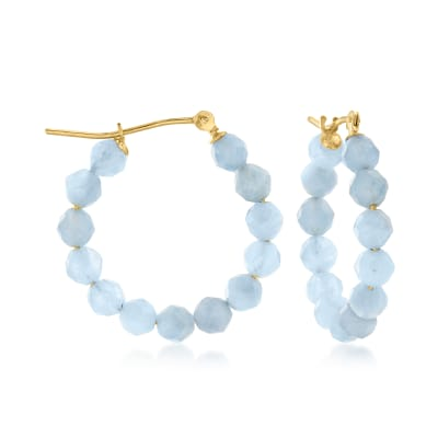 9.60 ct. t.w. Aquamarine Bead Hoop Earrings in 14kt Yellow Gold