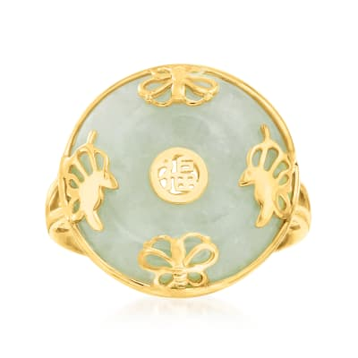 "Jade ""Good Fortune"" Butterfly Ring in 18kt Gold Over Sterling"