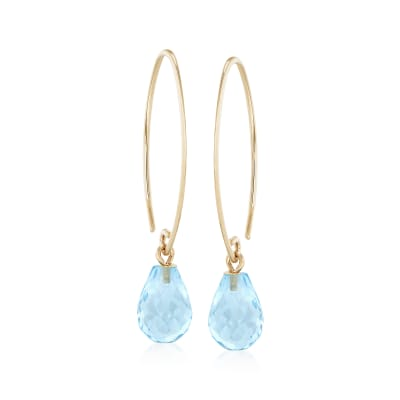 7.50 ct. t.w. Blue Topaz Earrings in 14kt Yellow Gold