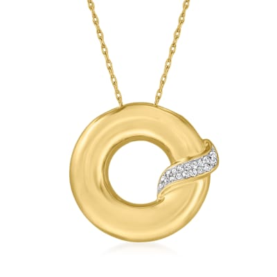 .10 ct. t.w. Diamond Open-Circle Pendant Necklace in 18kt Gold Over Sterling