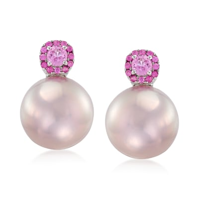 14-15mm Pink Cultured Pearl and .80 ct. t.w. Pink Sapphire Earrings in 18kt White Gold