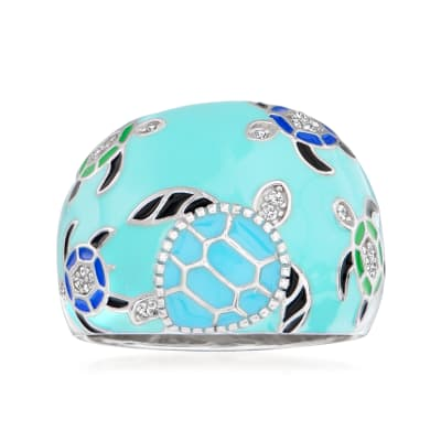 .10 ct. t.w. White Topaz and Multicolored Enamel Turtle Ring in Sterling Silver