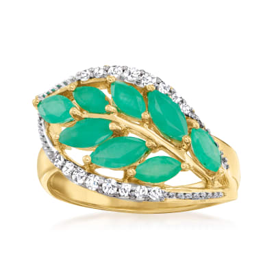 1.10 ct. t.w. Emerald and .17 ct. t.w. White Topaz Leaf Ring in 14kt Yellow Gold