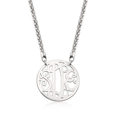 Sterling Silver Framed Monogram Necklace
