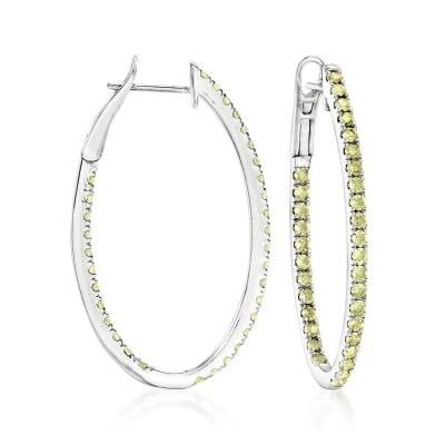 1.00 ct. t.w. Peridot Inside-Outside Hoop Earrings in Sterling Silver