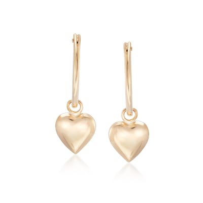 Child's 14kt Yellow Gold Heart Charm Hoop Earrings