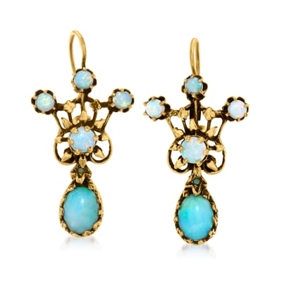 C. 1980 Vintage Opal Earrings in 14kt Yellow Gold