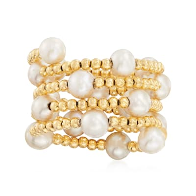 4-5mm Cultured Pearl Adjustable Beaded Wrap Ring in 14kt Yellow Gold