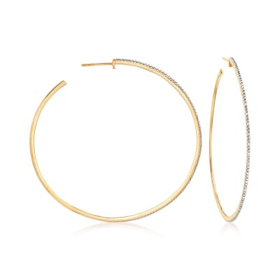.15 ct. t.w. Diamond Hoop Earrings in 18kt Gold Over Sterling