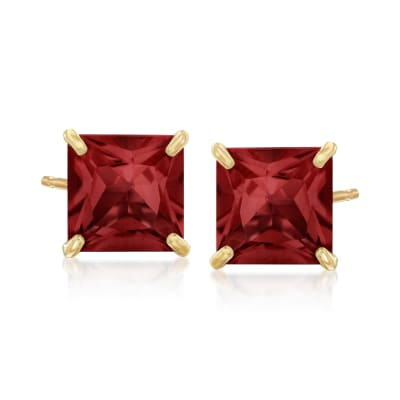 3.80 ct. t.w. Garnet Square Stud Earrings in 14kt Yellow Gold