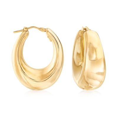 Italian 18kt Gold Over Sterling Graduated Hoop Earrings