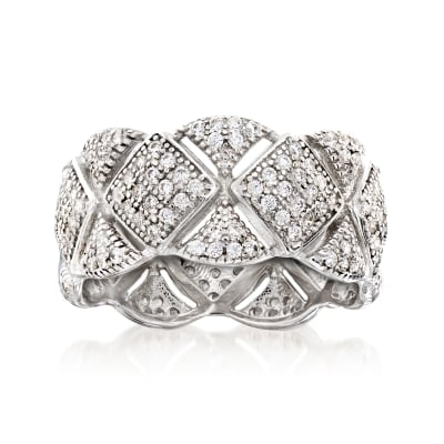 1.50 ct. t.w. CZ Cut-Out X Eternity Band in Sterling Silver