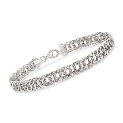 14kt White Gold Double-Oval Link Bracelet