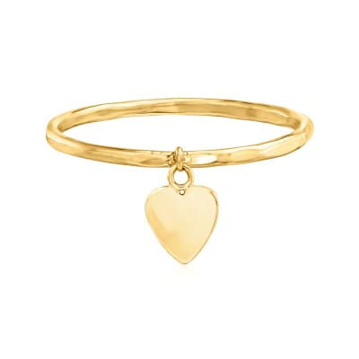 14kt Yellow Gold Heart Charm Ring