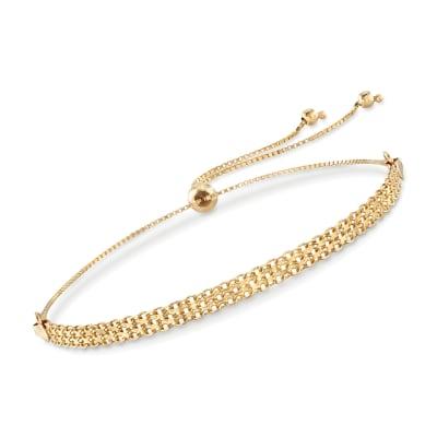 14kt Yellow Gold Bismark-Link Bolo Bracelet
