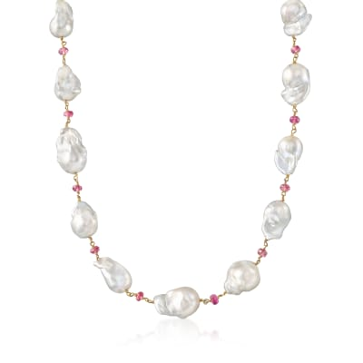 Mazza Cultured Baroque Pearl and Tourmaline Station Necklace in 14kt Yellow Gold