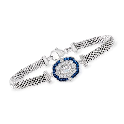 Italian .90 ct. t.w. CZ and .20 ct. t.w. Simulated Sapphire Bracelet in Sterling Silver