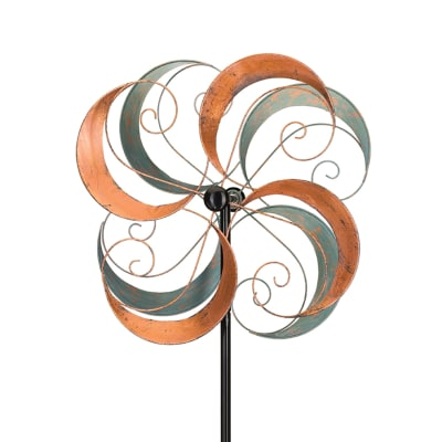 "Regal ""Swirls"" Metal Outdoor Rotating Wind Spinner"