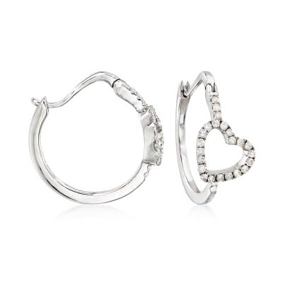 .50 ct. t.w. Diamond Heart Hoop Earrings