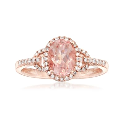 1.20 Carat Morganite and .21 ct. t.w. Diamond Ring in 14kt Rose Gold