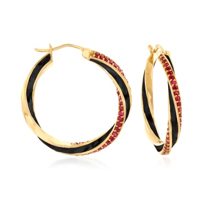 3.00 ct. t.w. Ruby and Black Enamel Hoop Earrings in 18kt Gold Over Sterling