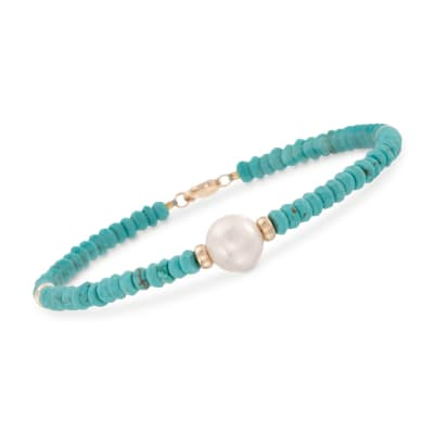 9-10mm Cultured Pearl and Turquoise Bead Bracelet in 14kt Yellow Gold
