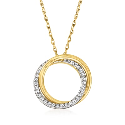 .20 ct. t.w. Diamond Double-Circle Pendant Necklace in 14kt Yellow Gold