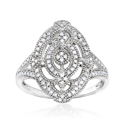 .33 ct. t.w. Diamond Openwork Oval Ring in Sterling Silver