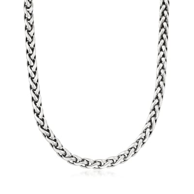C. 2000 Vintage David Yurman Sterling Silver Wheat Chain Necklace with 14kt Yellow Gold