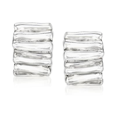Sterling Silver Ribbed Earrings
