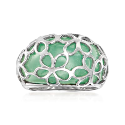 Jade and Sterling Silver Flower Ring