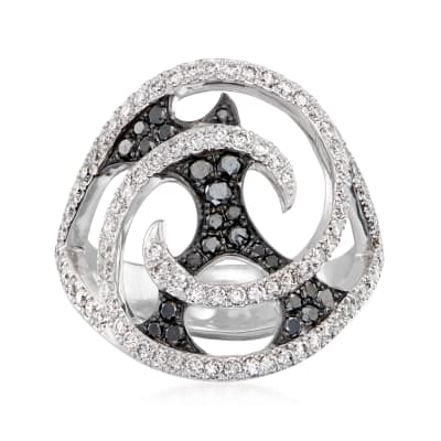 """C. 2010 Vintage Stephen Webster """"Fly by Night"""" 1.05 ct. t.w. Black and White Diamond Swirl Ring in 18kt White Gold"""