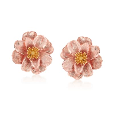 Italian 18kt Two-Tone Gold Flower Earrings