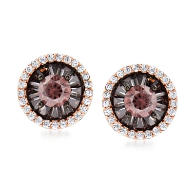 1.10 ct. t.w. Brown and White CZ Earrings in 18kt Rose Gold Over Sterling