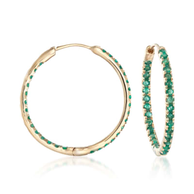 .90 ct. t.w. Emerald Inside-Outside Hoop Earrings in 14kt Yellow Gold