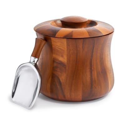 "Nambe ""Nara"" Acacia Wooden Ice Bucket with Scoop"