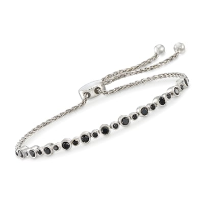 1.00 ct. t.w. Bezel-Set Black Diamond Bolo Bracelet in Sterling Silver