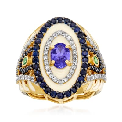 2.45 ct. t.w. Multi-Gemstone and Cream Enamel Ring in Sterling Silver and 18kt Gold Over Sterling