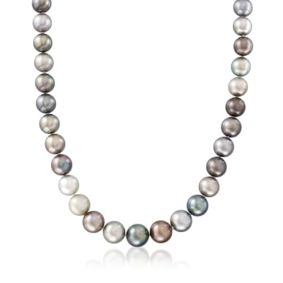 10-12mm Multicolored Cultured Tahitian Pearl Necklace with 14kt White Gold