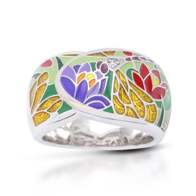 "Belle Etoile ""Dragonfly"" Green and Gold Enamel Ring with CZ Accents in Sterling Silver"